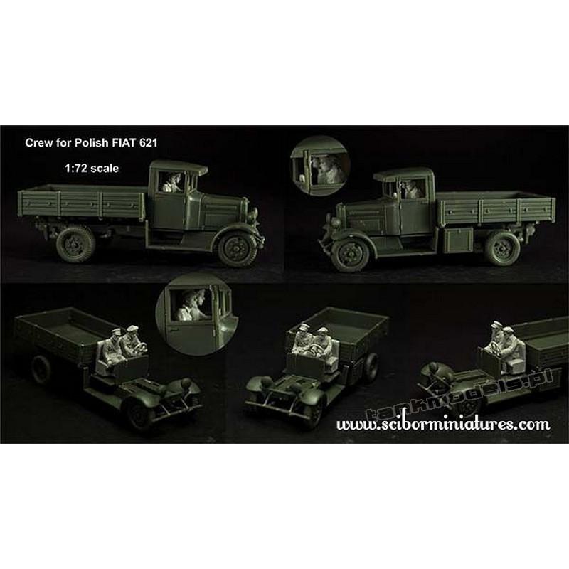 Polish Fiat 621 Crew Set - Scibor Miniatures 72HM0024