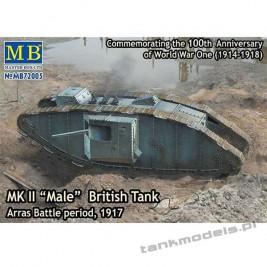 "MK II ""Male"" British Tank, Artillery Version, Arras Battle Period 1917 - Master Box 72005"