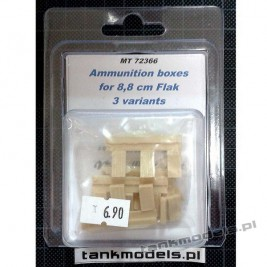 88mm Flak Ammo Boxes 3 Variants - Modell Trans 72366