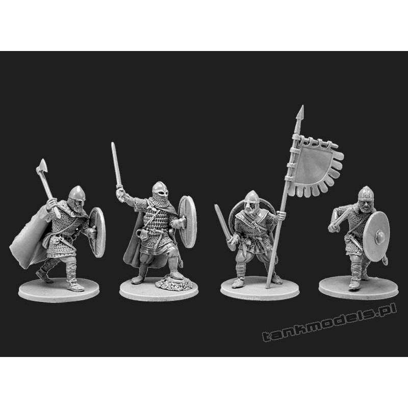 Vikings 2 - warriors with flag - V&V Miniatures R28.3