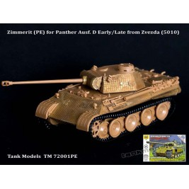 Zimmerit for Pantera Ausf. D ver. early/late (conv. for Zvezda) - Tank Models 72001PE