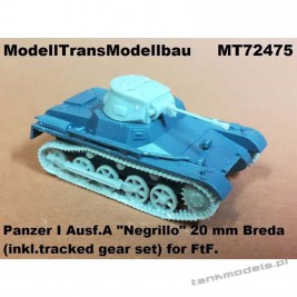 "Panzer I Ausf. A ""Negrillo"" 20mm Breda & tracked gear (FTF) - Modell Trans 72475"