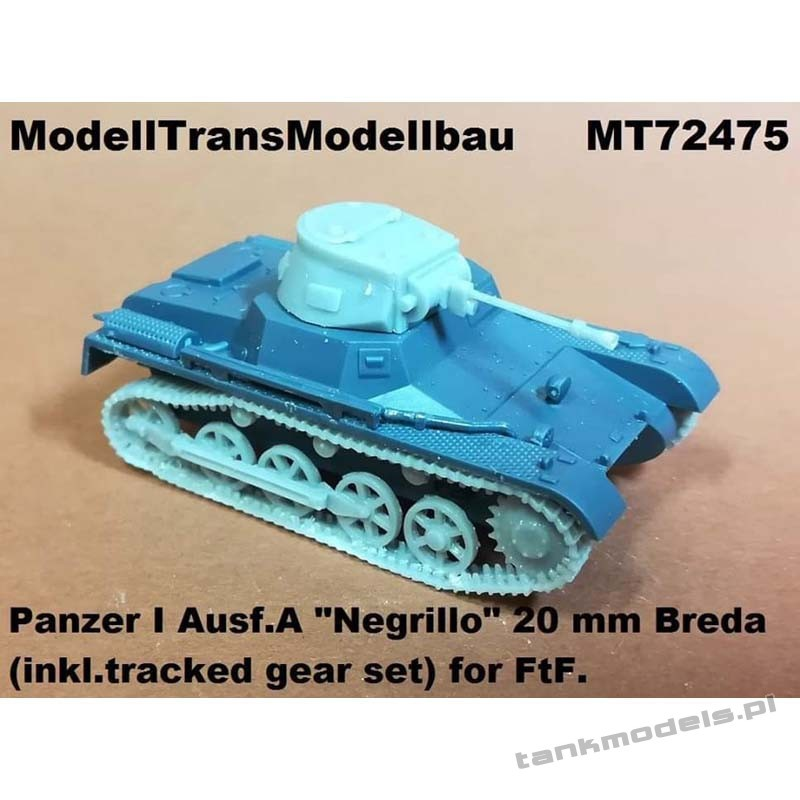 """Panzer I Ausf. A """"Negrillo"""" 20mm Breda & tracked gear (FTF) - Modell Trans 72475"""