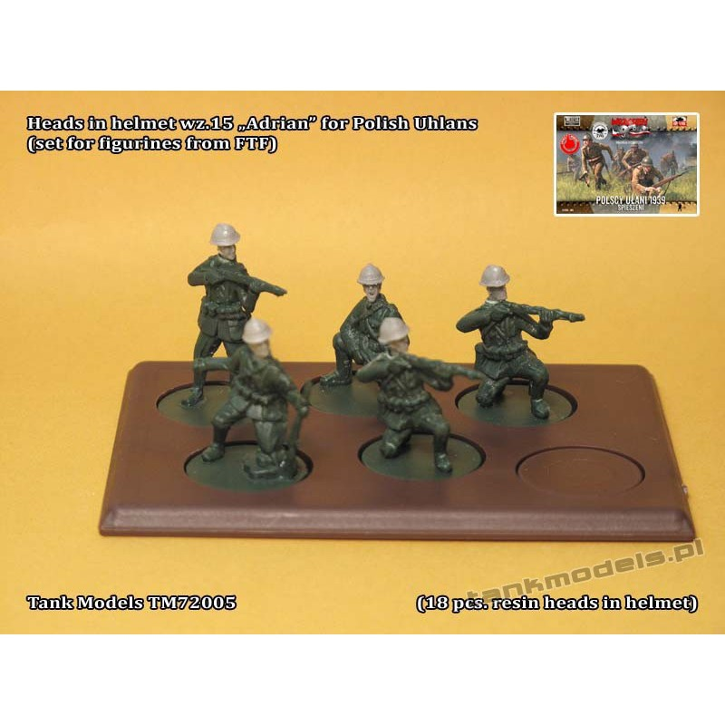 "Heads in helmet wz.15 ""Adrian"" for Polish Uhlans (set for figurines from FTF) - Tank Models 72005"