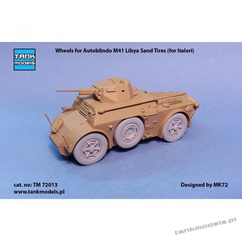 Wheels for Autoblindo M41 Libya Sand Tires (for Italeri) - Tank Models TM 72013