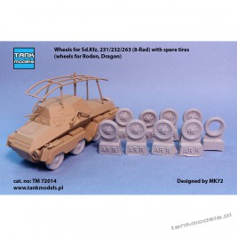 Wheels for Sd.Kfz. 231/232/263 (8-Rad) with spare tires - Tank Models TM 72014