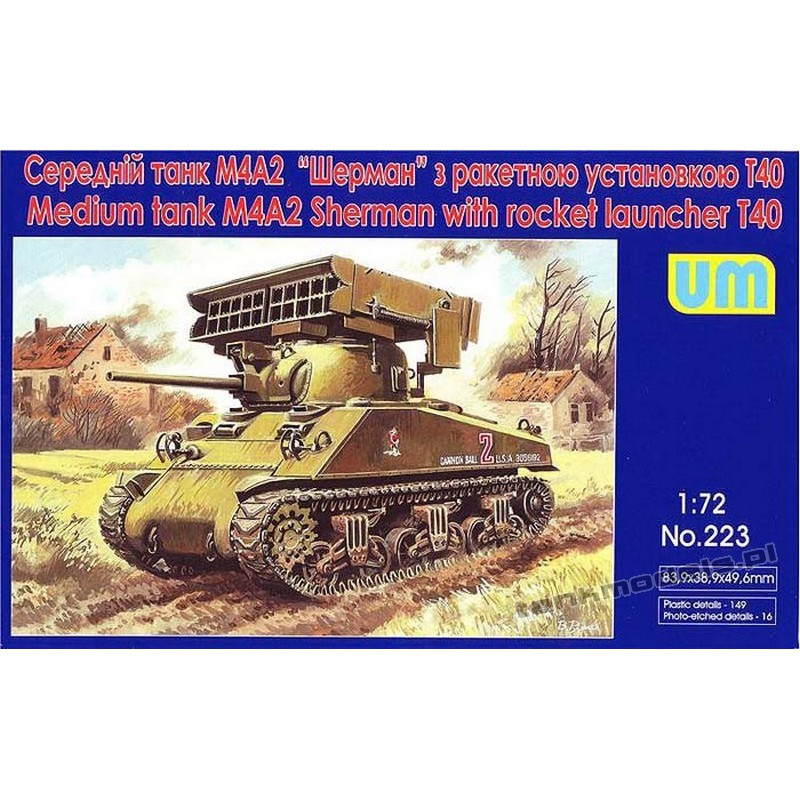 M4А2 sherman with T-40 Rocket Launcher - UniModels 223
