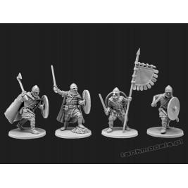 Vikings 2 - warriors with flag - V&V Miniatures R28.3