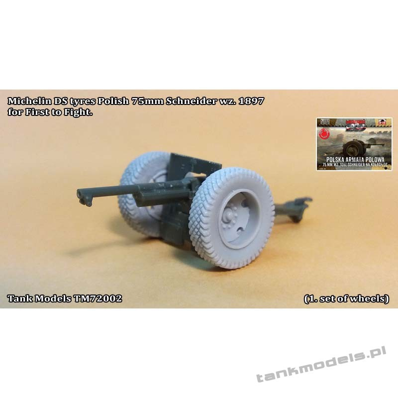 Michelin DS tyres for 75mm Schneider wz. 1897 (from FTF) - Tank Models 72002