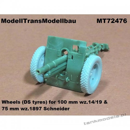 Wheels (DS tyres) for 100 mm wz.14/19 & 75 mm wz.1897 Schneider - Modell Trans 72476