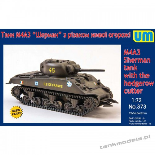 Sherman M4А3 with the hedgerow cutter Medium tank - Unimodels 373