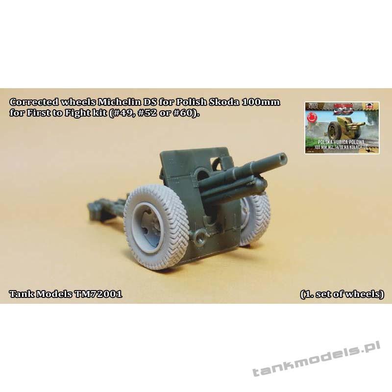 Michelin DS tyres (full wheels) for 75mm Schneider or 100mm Škoda (from FTF) - Tank Models 72001