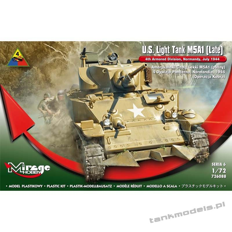 M5A1 Stuart Late, 4th Armored Division, Normandy 1944 - Mirage Hobby 726088
