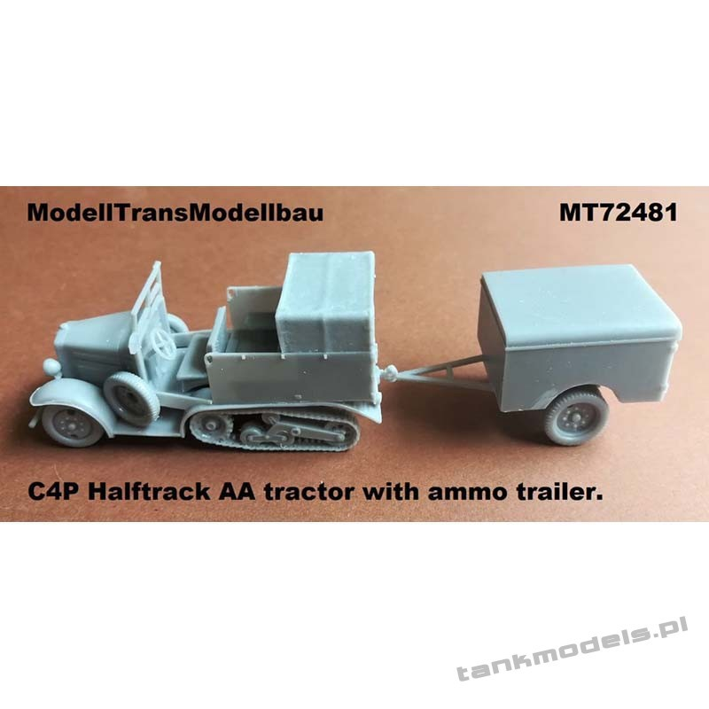 C4P Halftrack AA tractor with ammo trailer - Modell Trans 72481
