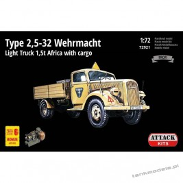 Opel-Blitz Type 2,5-32 Wehrmacht Light Truck 1,5 t Africa with cargo - Attack 72921