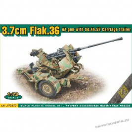 3,7 cm Flak. 36 AA gun with Sd.Ah. 52 Carriage trailer - ACE 72570