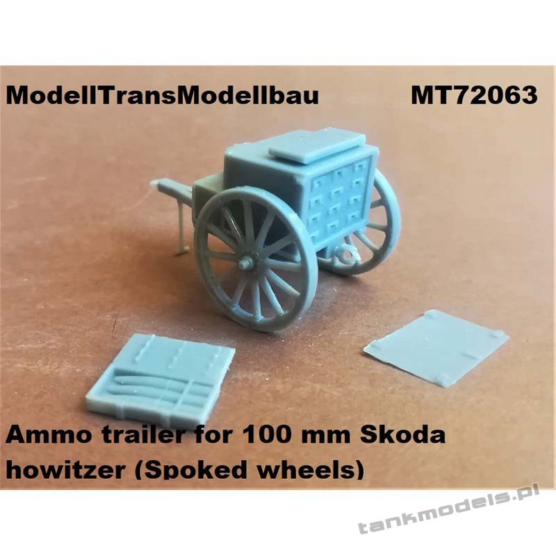 Ammo trailer for 100 mm Skoda howitzer (Spoked wheels) for First to Fight - Modell Trans 72063