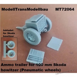 Ammo trailer for 100 mm Skoda howitzer (Pneumatic wheels) for First to Fight - Modell Trans 72064