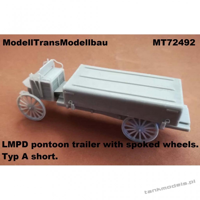 LMPD pontoon trailer with spoked wheels. Typ A short - Modell Trans 72492