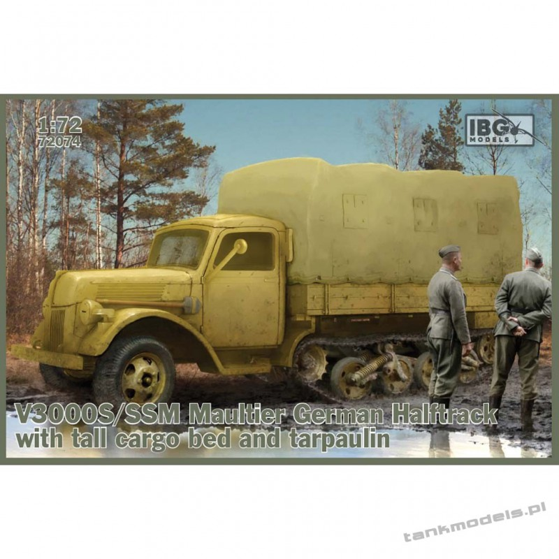 Ford V3000S/SSM Maultier German Halftrack with tall cargo bed and tarpaulin - IBG 72074