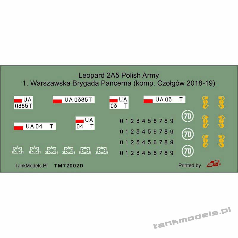 Decals of the 1st Warsaw Armored Brigade for the Polish Leopard 2A5 - Tank Models 72002D