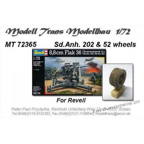8,8 cm Flak 36 & Sd.Anh.52 wheels (for Revell) - Modell Trans 72365