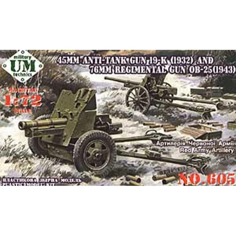 45mm gun 19-K (1932) & 76mm gun OB.-25 (1943)